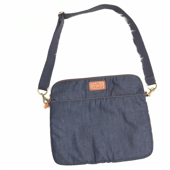 Lucky Brand denim leather laptop bag